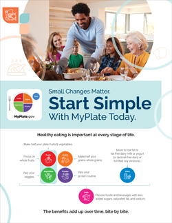 Black man serving food with MyPlate logo and text about Start Simple